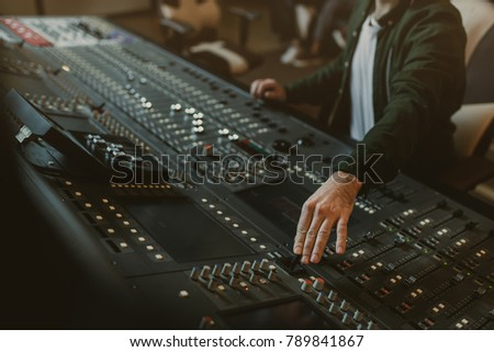 cropped shot of sound producer working with recording equipment #789841867
