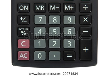 cropped shot of the keypad on a calculator isolated on white