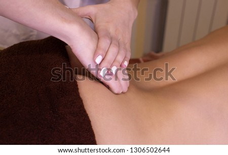 Cropped shot of woman receiving full body massage at spa center copyspace sexy body therapy recreation lifestyle health vitality pampering skin treatment masseur masseuse working professional service. #1306502644