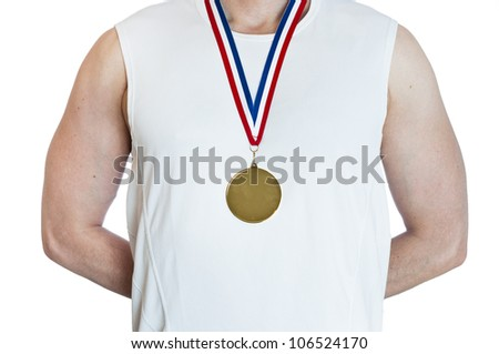 Cropped torso of man standing in attention wearing blank sports gold medal.