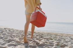 Cropped up photo shot barefoot back view young woman wear shorts summer clothes carry picnic bag refrigerator outdoors on sea sunrise sand beach background People vacation lifestyle journey concept.