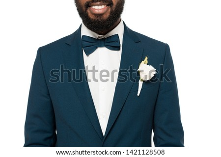cropped view of cropped view of happy bearded african american bridegroom isolated on white  #1421128508