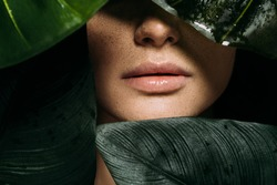 cropped view of girl with freckles posing with green tropical leaves
