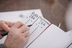 cropped view of senior woman writing in notebook with roth ira and traditional ira words