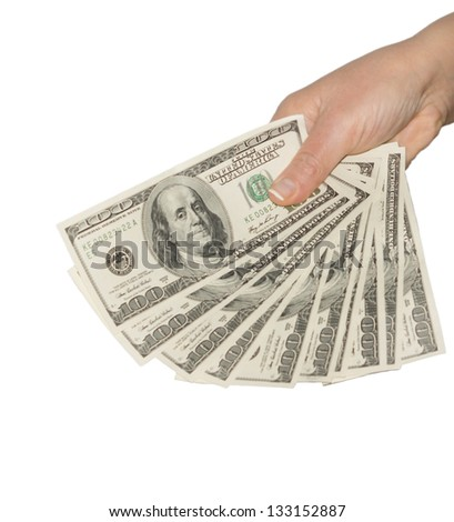 Cropped view of the hand of a man holding a fanned fistful of 100 dollar bills isolated on a white background - stock photo