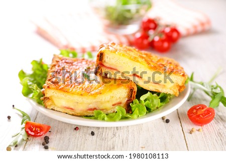 croque monsieur with lettuce and tomato Photo stock ©