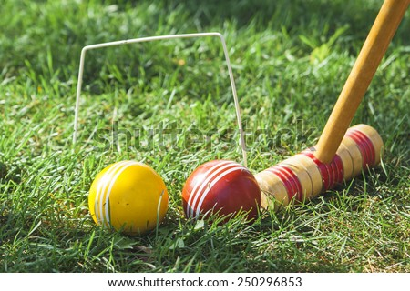 Croquet Mallet and Hoop with Red and Yellow Balls