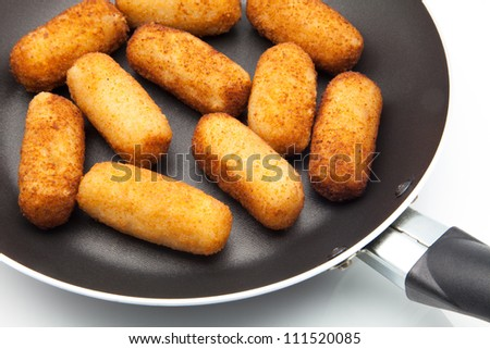 Croquettes fried stuffed with meat