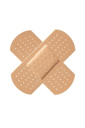Cross adhesive bandage plaster on white background.