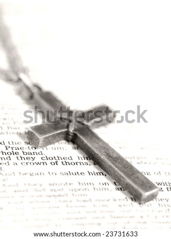 "cross and ""crown of thorns"" passage of bible - high contrast black & white, shallow depth of field"