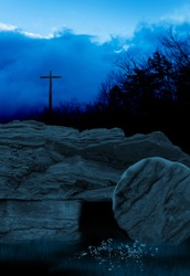 Cross and Empty Tomb at Dusk