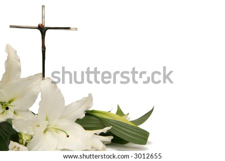 Cross and white easter lilies on a white background