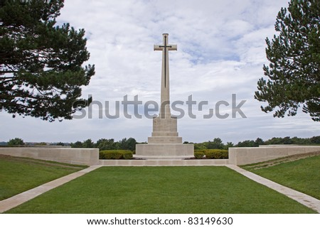 Cross at the entrance to Etaples military cemetery