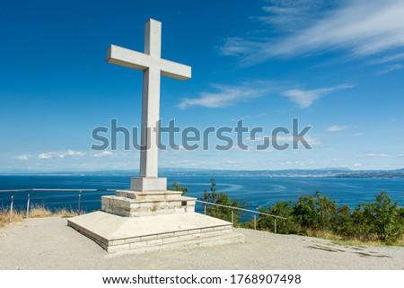 Cross at the Slovenia coast, Strunjan reserve. Zdjęcia stock ©