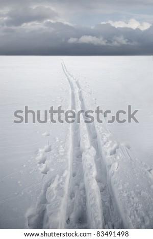 Cross country ski track over ice