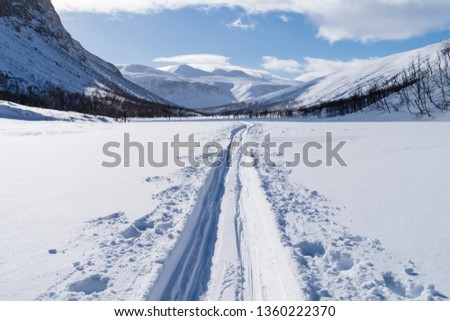 Cross country ski trail in national park Sarek, Swedish Lapland. Sweden. #1360222370