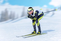 Cross-country skiier in downhill position