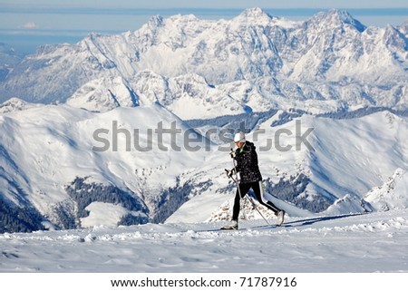Cross country skiing at Kaprun glacier
