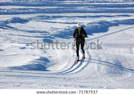Cross country skiing at Kaprun glacier - stock photo