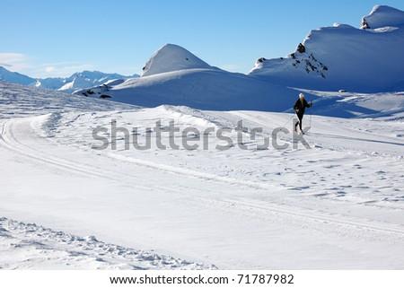 Cross country skiing at Kaprun glacier