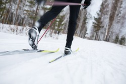 cross country skiing, close-up