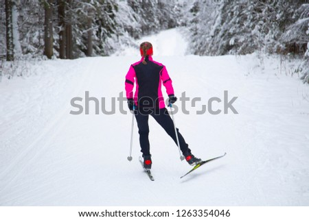 Cross-country skiing in winter