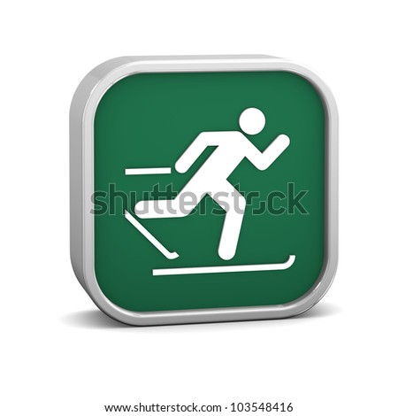 Cross country skiing sign on a white background. Part of a series.