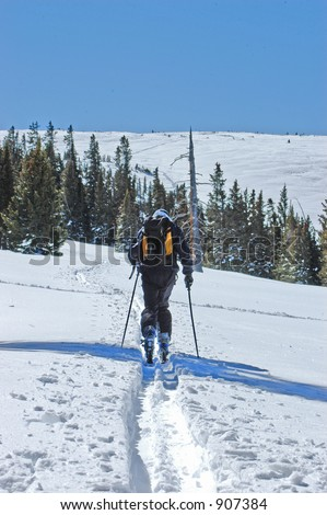 Cross Country Skiing to the Top of the Mountain