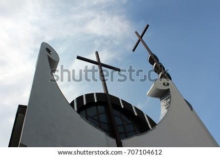 Cross. Cross on top of the church. Cross Church. Cross on church. #707104612