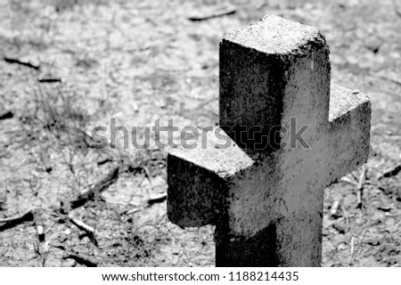 Cross Grave Stone. Old Cemetary