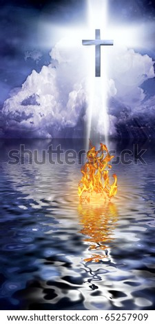 Cross Hangs in Sky over Water with Fire Burning on Waters Surface