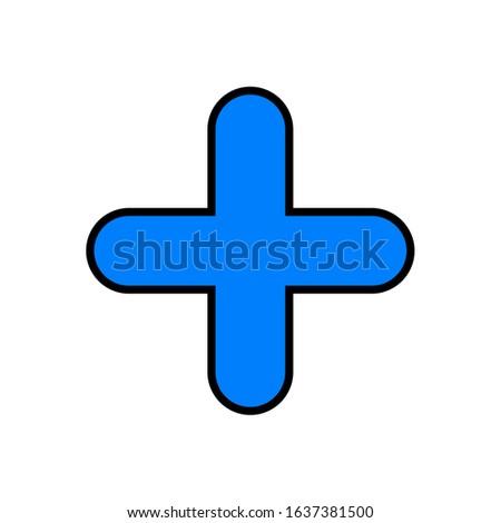Cross icon. Simple figure. Blue figure.