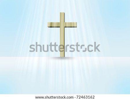 Cross in light - stock photo