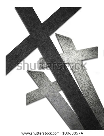 cross isolated on white background or abstract religious artwork of three crosses in black and white Easter Background or for Christian logo or Christian business card or church bulletin illustration