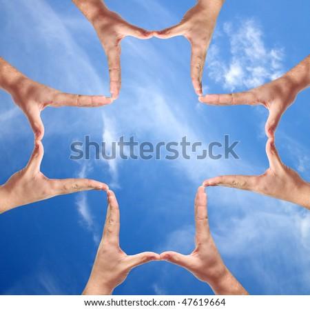 Cross made of human hand
