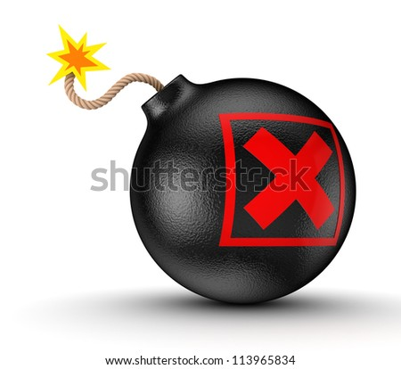Cross mark on a black bomb.Isolated on white background.3d rendered.