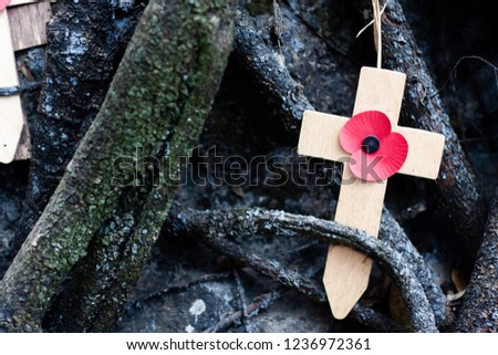 Cross memorial to prisoner of war. Remembrance cross with in remembrance and red poppy .war time theme for lost loved ones