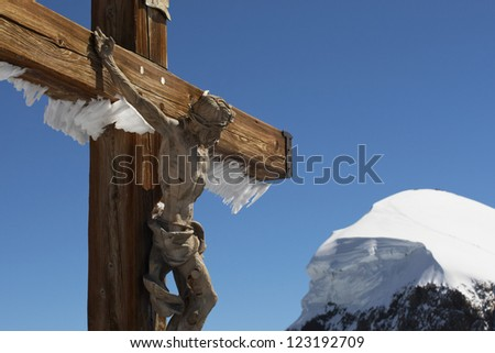 Cross of Jesus Christ in the Swiss Alps