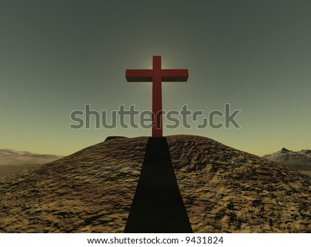 Cross on a hill from a red stone on a background of clear effective sky