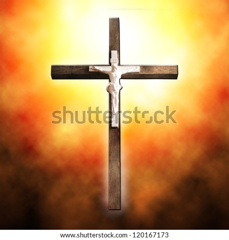 Cross on black background - stock photo