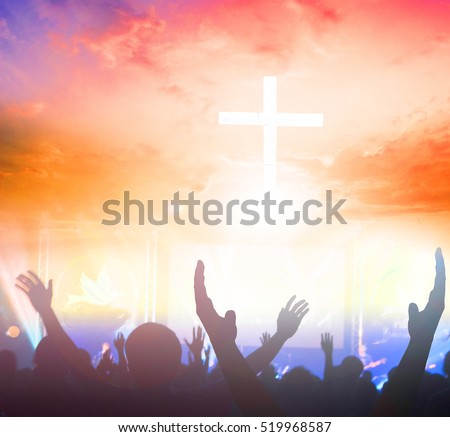 cross on blurry sunset background?worship, christian, christianity, church, cross, jesus, pray, god, religion, christ, life, view, light, hope, crucifixion, illuminated, rays, family, rear view, mist