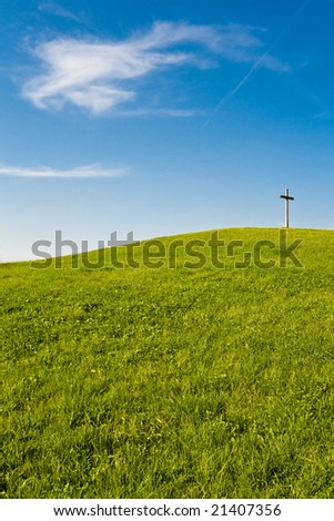 cross on hill (middle right)