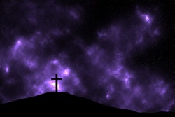 Cross on the hill on a space background. Sacrifice of Jesus, Easter
