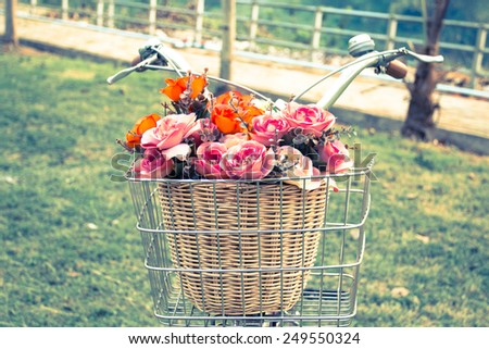 cross process bicycle with a basket of flowers