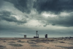 Cross processed conceptual post apocalyptic nuclear landscape with abandoned buildings