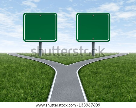 Cross roads with two blank road signs for copy space as a business concept and strategy symbol for difficult choices and challenges when selecting the right strategic path for financial planning.