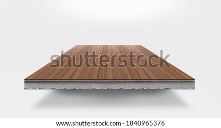 Cross section image of wood paving on concrete. Stock photo ©