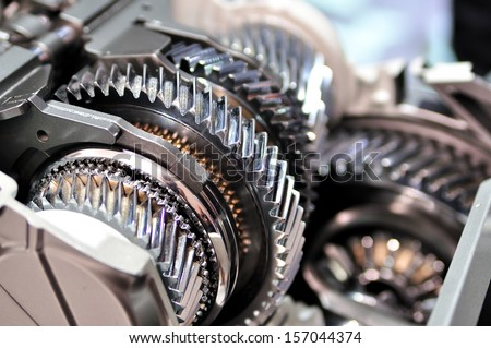 Cross-section of a car gearbox.