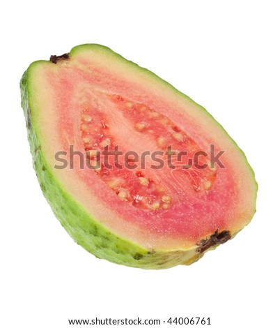 Cross section of a pink guava isolated on white background