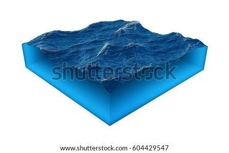 cross section of clean ocean...